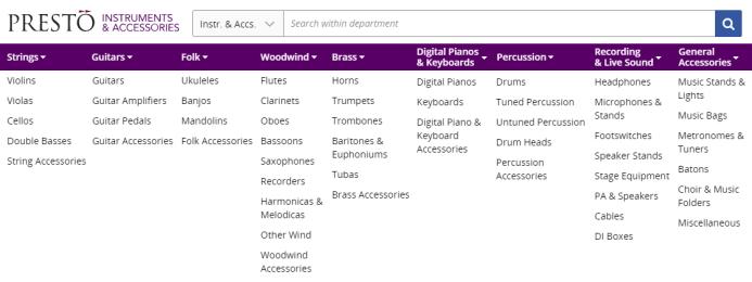 Instruments & Accessories Menu