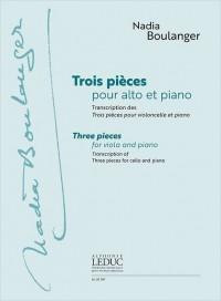 Nadia Boulanger: Three Pieces For Viola & Piano (Originally For Cello)