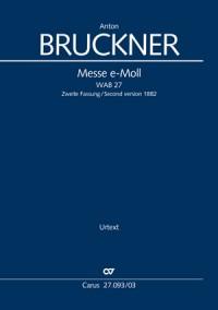 Bruckner: Mass in E minor (2nd version 1882) (Vocal Score)