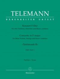 Telemann, G: Concerto for 3 Violins in F (Tafelmusik No.2 1733) (TWV 53: F1) (Urtext)