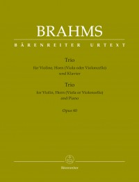 Brahms, J: Trio for Violin, Horn (Viola or Violoncello) and Piano op. 40 (Urtext)