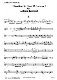 Kammel: Divertimento Op. 12 No. 6 - Part for viola in lieu violin 2