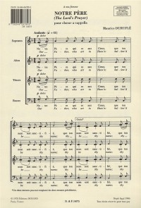 Maurice Durufle: Notre Pere (The Lord's Prayer) Op.14 No.4 (SATB)