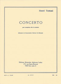 Henri Tomasi: Concerto For Alto Saxophone And Orchestra (Alto Saxophone/Piano)