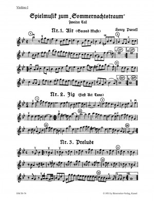 Purcell, H: Incidental Music for A Midsummer Night's Dream Part 2. (From the opera The Fairy Queen)