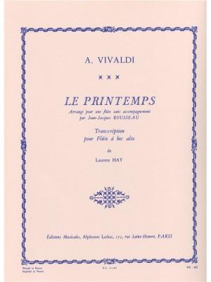 Antonio Vivaldi: Spring in E major arranged for Alto Recorder Solo