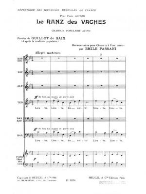 Emile Passani: Passani Le Ranz Des Vaches 4 Part & Piano Choral
