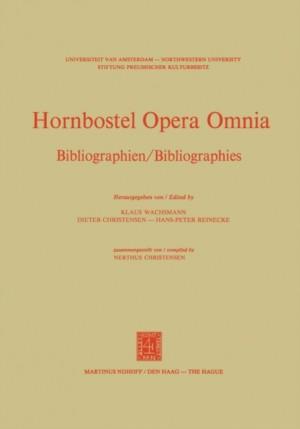 Hornbostel Opera Omnia: Bibliographien / Bibliographies