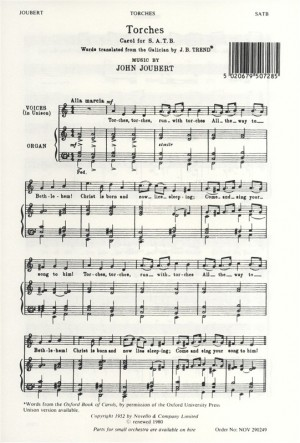 John Joubert: Torches (SATB)