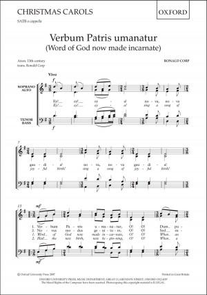 Corp: Verbum Patris umanatur (Word of God now made incarnate)