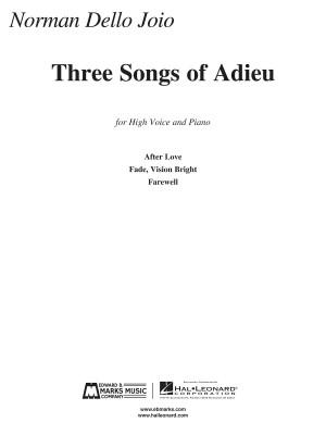 Norman Dello Joio: Three Songs of Adieu - Norman Dello Joio
