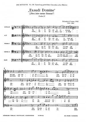 Lasso: Exaudi Domine (f-Moll)