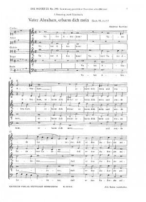 Raselius: Vater Abraham, erbarm dich mein (a-Moll)