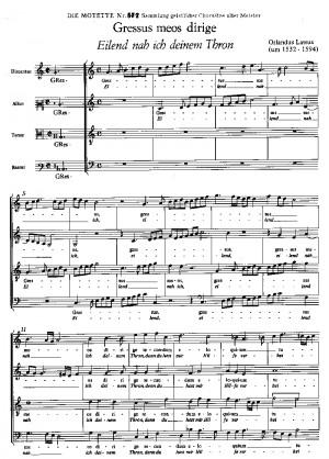 Lasso: Gressus meos dirige (Eilend nach ich deinem Thron) (no. 14; mixolydisch)