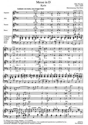 Nicolai: Messe Nr. 1 in D (D-Dur)
