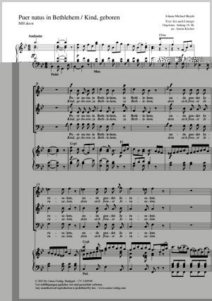 Haydn, Johann Michael: Puer natus in Bethlehem