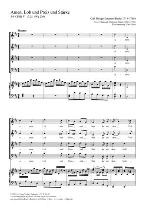 Bach, CPE: Amen, Lob und Preis und Stärke BR-CPEB Fs 10.2/1 (Wq 226)
