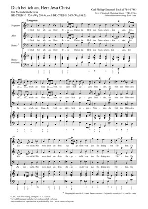 Bach, CPE: Dich bet ich an, Herr Jesu Christ BR-CPEB Hs 52/4 (Wq 208,4)