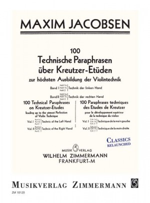 Jacobsen, M: 100 Technical Paraphrases On Kreutzer-etudes Band Ii Heft 1a