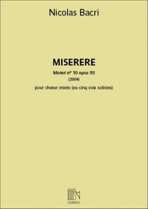 Nicolas Bacri: Miserere Motet nº 10 opus 93