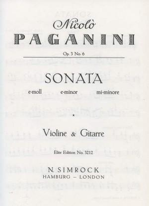 Paganini, N: Sonata in E Minor op. 3/6