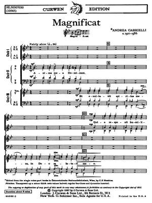 Andrea Gabrielli: Magnificat - For Three Choruses SATB TTBB SSAA