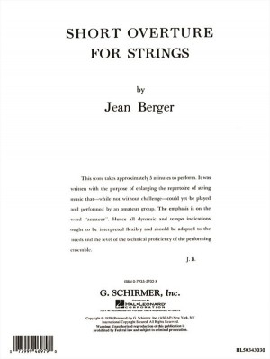 Jean Berger: Short Overture For Strings