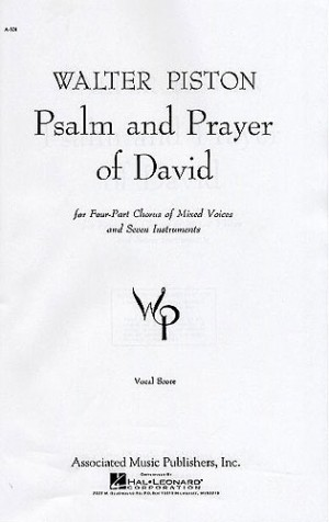Walter Piston: Psalm And Prayer Of David