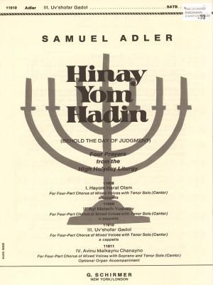 Samuel Adler: Hinay Yom Hadin - Uv'shofar Gadol
