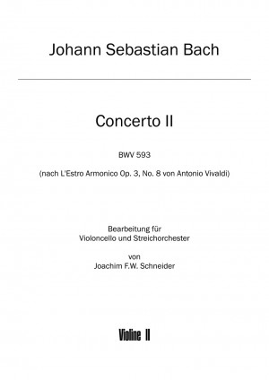 Bach, Johann Sebastian: Concerto for Violoncello, Strings and Basso continuo in A minor after BWV 593