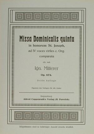 Mitterer: Missa Dominicalis quinta (Op.67b)