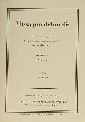 Mitterer: Missa pro defunctis