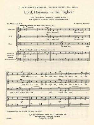 L. Stanley Glarum: Lord, Hosanna In The Highest