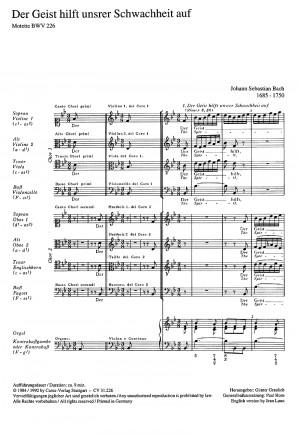 Bach, JS: Der Geist hilft unser Schwachheit auf (BWV 226; B-Dur)