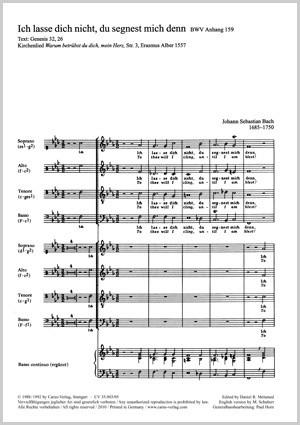 Bach, JS: Ich lasse dich nicht, du segnest mich denn (BWV Anh. III 159; f-Moll)