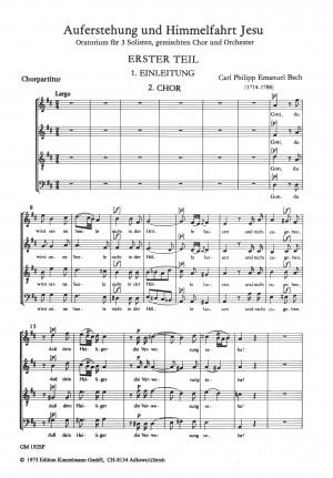 Bach, Carl Philipp Emanuel: Auferstehung und Himmelfahrt Jesu