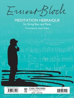 Bloch Ernest Meditation Hebraique Double Bass & Piano Book