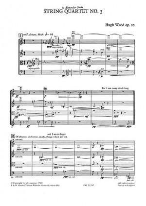 Strings String Quartet No.1 Op.4 Parts String Quartet Sheet Music Book Hugh Wood