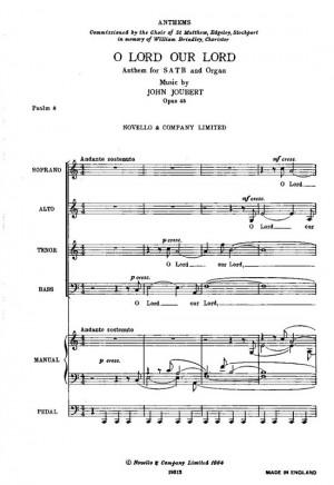 John Joubert: O Lord Our Lord - SATB/Organ Product Image
