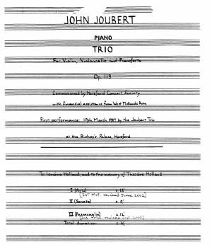 John Joubert: Piano Trio Op.113