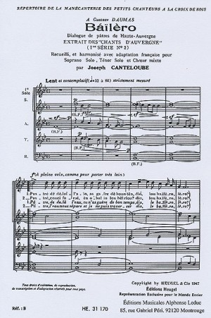 Joseph Canteloube: Auvergne Songs - Series 1, No.2