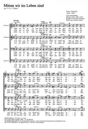 Cornelius: Mitten wir im Leben sind (Op.9 no. 3; a-Moll)