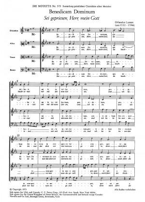 Lasso: Benedicam Dominum (Sei gepriesen, Herr, mein Gott) (no. 28; Es-Dur)
