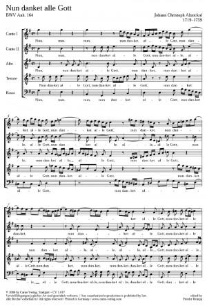 Altnickol: Nun danket alle Gott (BWV Anh. 164; G-Dur)