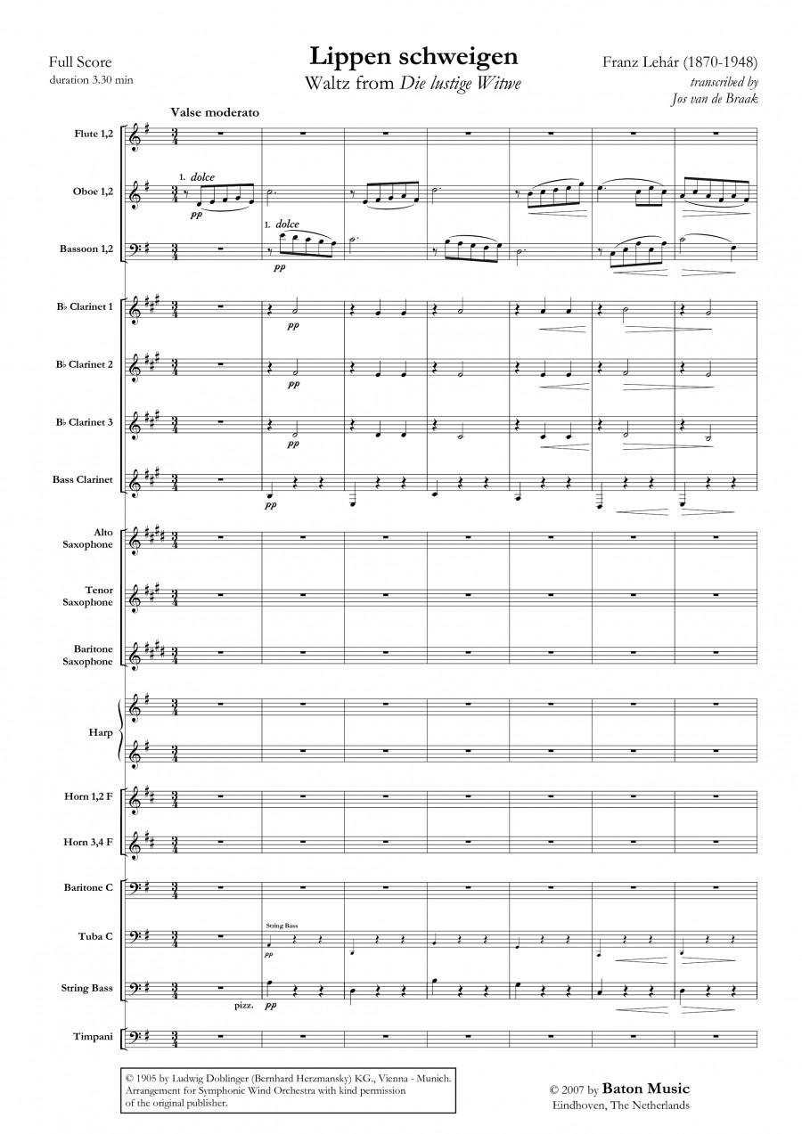 Franz Lehár: Lippen Schweigen for Orchestra | Presto Sheet Music