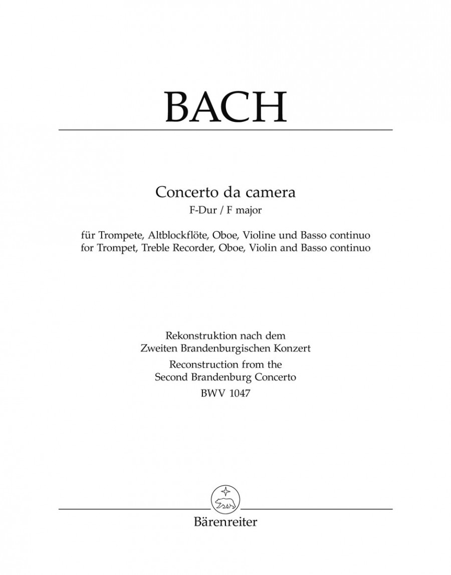 Bach, JS: Concerto da camera in F (BWV 1047) (Urtext