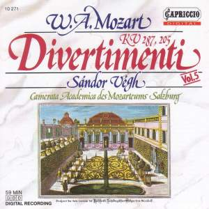 Mozart: Divertimenti K. 205 and 287 Product Image