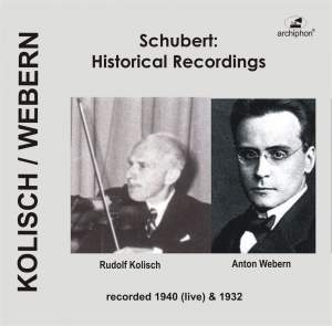 Franz Schubert: Historical Recordings (1932, 1940) Product Image