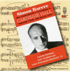 Simon Barere - Live Recordings at Carnegie Hall (Volume 2)
