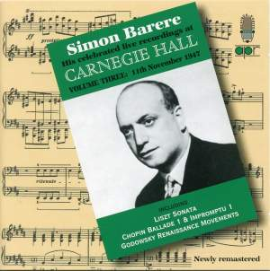 Simon Barere - Live Recordings at Carnegie Hall (Volume 3)